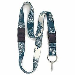 Denim Lace Breakaway Lanyard - With Buckle And Flat Ring Mad