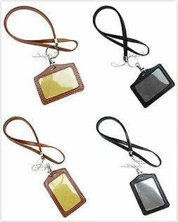 Durable Leather PU Necklace Lanyard with Vertical / Horizont