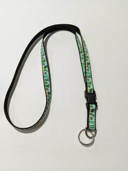 """Green Desert Cactus 1/2"""" Wide Lanyard with Removable Keychai"""