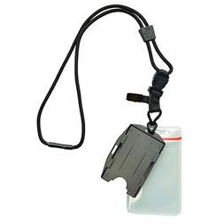 Heavy Duty  Nylon Lanyard with Two Dual ID Badge Holders, by
