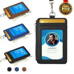ID Badge Card Holder Synthetic Leather Vertical Clip Neck St