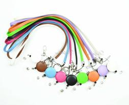 leather necklace lanyard and badge reel retractable