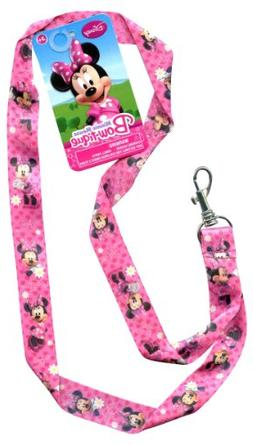 Disney Minnie Mouse Pink Bowtique Pin Trading Keychain Lanya