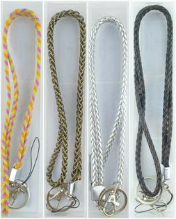 Multi Color Braided Leather Necklace long Lanyard keychain f