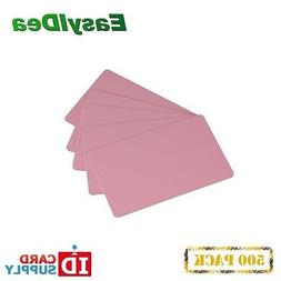 Pack of 500 Pink CR80 Standard Size PVC Cards | 30 mil Thick