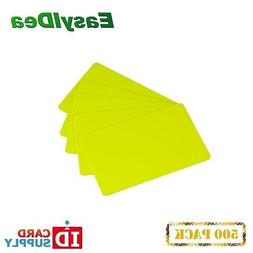 Pack of 500 Yellow CR80 Standard Size PVC Cards | 30 mil Thi