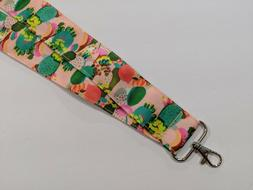 """Peach with Desert Cactus 1 1/2"""" Wide Lanyard 1.5 with Lobste"""