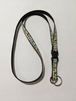"""Pink with Desert Cactus 1/2"""" Wide Lanyard with Removable Key"""