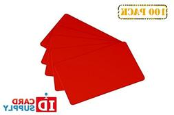 Pack of 100 Red CR80 Standard Size PVC Cards | 30 mil Thickn
