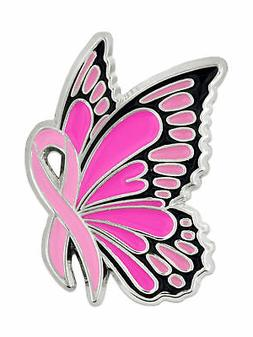 PinMart's Breast Cancer Awareness Butterfly Pink Ribbon Enam