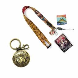 Wonder Woman Shield Pewter Key Ring and  Lanyard with Soft C