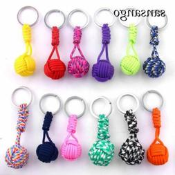 Woven Paracord Lanyard Keychain Outdoor chain key Keyring Pe
